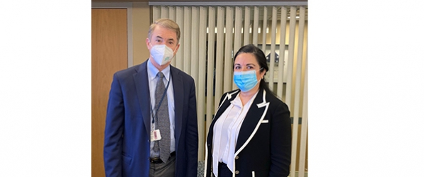 Today's Master Surgeon lecturer Dr. Anita P. Courcoulas and Department Chair Dr. Timothy Billiar