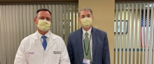 Caption: Master Surgeon Lecture Presenter Dr. David Bartlett and Department Chair Dr. Timothy Billiar at our first virtual Grand Rounds lecture
